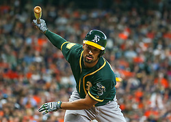 April 29, 2018 - Houston, TX, U.S. - HOUSTON, TX - APRIL 29:  Oakland Athletics shortstop Marcus Semien (10) reacts after swinging and missing in the top of the third inning during the baseball game between the Oakland Athletics and Houston Astros on April 29, 2018 at Minute Maid Park in Houston, Texas.  (Photo by Leslie Plaza Johnson/Icon Sportswire) (Credit Image: © Leslie Plaza Johnson/Icon SMI via ZUMA Press)