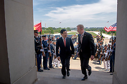 May 23, 2019 - Arlington, VA, United States of America - U.S. Acting Secretary of Defense Patrick Shanahan, right, escorts Vietnamese Foreign Minister Pham Binh Minh during the arrival ceremony at the Pentagon May 23, 2019 in Arlington, Virginia. (Credit Image: © Amber I. Smith via ZUMA Wire)