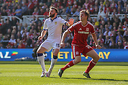 Leeds United midfielder Stuart Dallas    and Middlesbrough defender, on loan from Chelsea, Tomas Kalas challenge for the ball during the Sky Bet Championship match between Middlesbrough and Leeds United at the Riverside Stadium, Middlesbrough, England on 27 September 2015. Photo by Simon Davies.