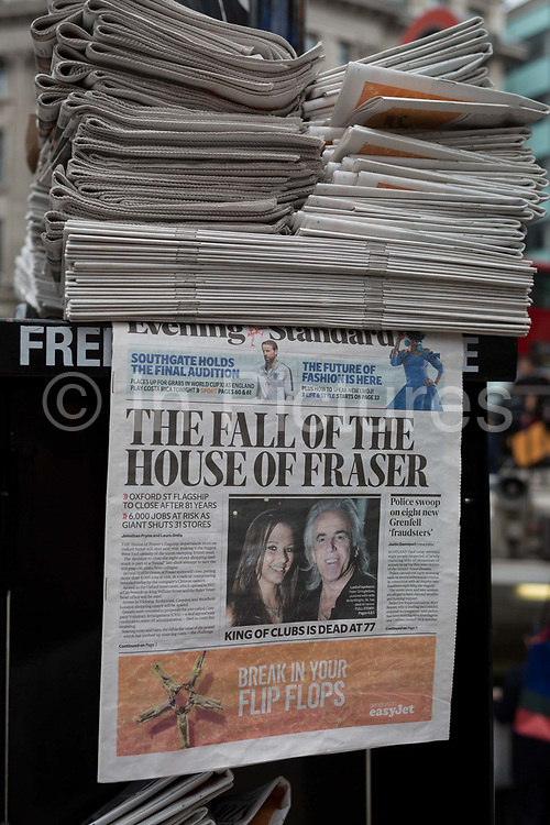 On the day that closures of many branches and the loss of jobs, the Evening Standard headline is about The House of Fraser department store on Oxford Street, on 7th June 2018, in London, England. House of Fraser is to close 31 of its 59 shops, affecting 6,000 jobs, as part of a financial rescue deal. If the plan is approved, 2,000 House of Fraser jobs will go, along with 4,000 brand and concession roles. The stores scheduled for closure, which include its flagship London Oxford Street store, will stay open until early 2019.
