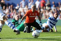 2 September 2017 - Charity Football - Game 4 Grenfell - Team Shearer goalkeeper Jose Mourinho can only watch as Chris Edwards scores an open goal - Photo: Charlotte Wilson