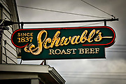 SHOT 10/24/17 10:41:56 AM - Schwabl's Roast Beef in West Seneca, N.Y. is a landmark spot for signature beef on weck and rib-sticking German-American fare in an old-fashioned setting. Buffalo, N.Y. is the second most populous city in the state of New York and is located in Western New York on the eastern shores of Lake Erie and at the head of the Niagara River. By 1900, Buffalo was the 8th largest city in the country, and went on to become a major railroad hub, the largest grain-milling center in the country and the home of the largest steel-making operation in the world. The latter part of the 20th Century saw a reversal of fortunes: by the year 1990 the city had fallen back below its 1900 population levels. (Photo by Marc Piscotty / © 2017)