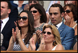 Pippa Middleton (C) and her brother James (R) enjoy the tennis in the Royal box on the fourth day of the 2012 Wimbledon championships in London, Thursday June 28, 2012. Photo By i-Images     .All Rights Reserved ©i-Images