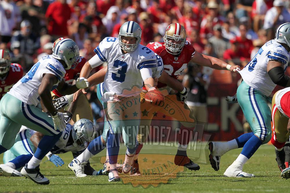 Dallas Cowboys quarterback Jon Kitna (3) during an NFL football game between the Dallas Cowboys and the San Francisco 49ers at Candlestick Park on Sunday, Sept. 18, 2011 in San Francisco, CA.   (Photo/Alex Menendez)