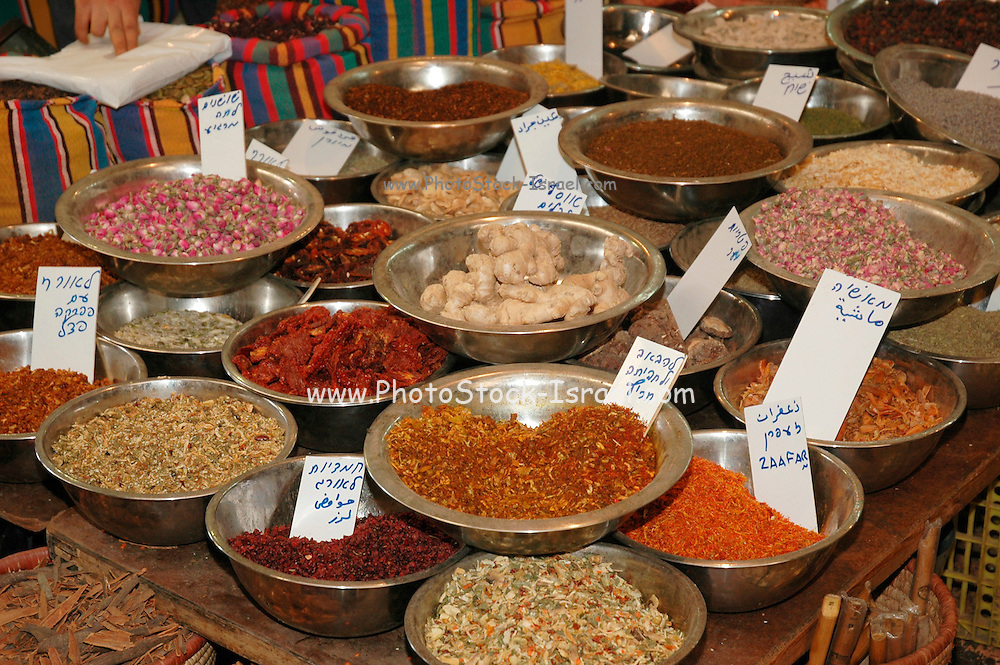Dried herbs and spices at an outdoor market, Akko, Israel