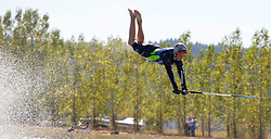 Sep 10, 2006; Adna, WA, USA; Heinrich Sam of the Republic of South Africa, competes in the Boys A Jump event, landing at 19.8 m. Sam's best from three attempts was 20.7 m. Skiers travel down the water to an 18 inch tall jump and try to sail as far down the course as possible. They must hold onto the rope through the air and usually landing on their bottom. The 2006 World Barefoot Championships were held on Lake Silverado. 150 competitors from 13 countries gathered in the small town. Mandatory Credit: Photo by James W Prichard/ZUMA Press. (©) Copyright 2006 by James W Prichard