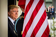 President Donald Trump waits for the arrival of President Abdel Fattah Al Sisi of Egypt at West Wing of the White House in Washington, District of Columbia, U.S., on Monday, April 3, 2017. President Trump President Al Sisi were to have a meeting and working lunch.