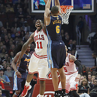 26 March 2012: Chicago Bulls shooting guard Ronnie Brewer (11) misses the block on Denver Nuggets shooting guard Arron Afflalo (6) during the Denver Nuggets 108-91 victory over the Chicago Bulls at the United Center, Chicago, Illinois, USA. NOTE TO USER: User expressly acknowledges and agrees that, by downloading and or using this photograph, User is consenting to the terms and conditions of the Getty Images License Agreement. Mandatory Credit: 2012 NBAE (Photo by Chris Elise/NBAE via Getty Images)