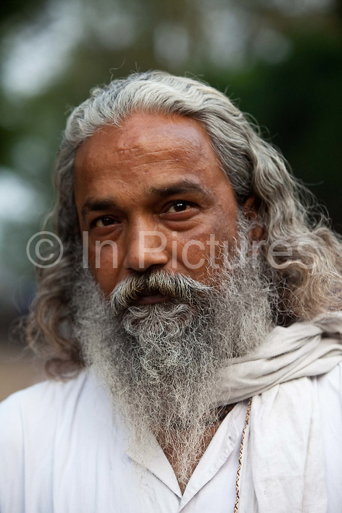 A man with a fine beard and a remarkable resemblance to Rabindranath Tagore in  Chandannagar, India
