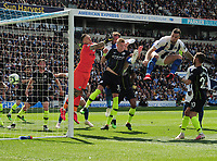 Football - 2018 / 2019 Premier League - Brighton & Hove Albion vs. Manchester City<br /> <br /> Glenn Murray of Brighton heads Brighton's goal for an early lead as Ederson is left punching thin air, at The Amex.<br /> <br /> COLORSPORT/ANDREW COWIE