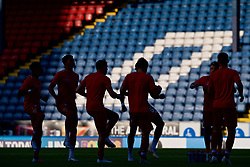 BLACKBURN, ENGLAND - Thursday, July 19, 2018: Liverpool's players during the pre-match warm-up before a preseason friendly match between Blackburn Rovers FC and Liverpool FC at Ewood Park. (Pic by Paul Greenwood/Propaganda)