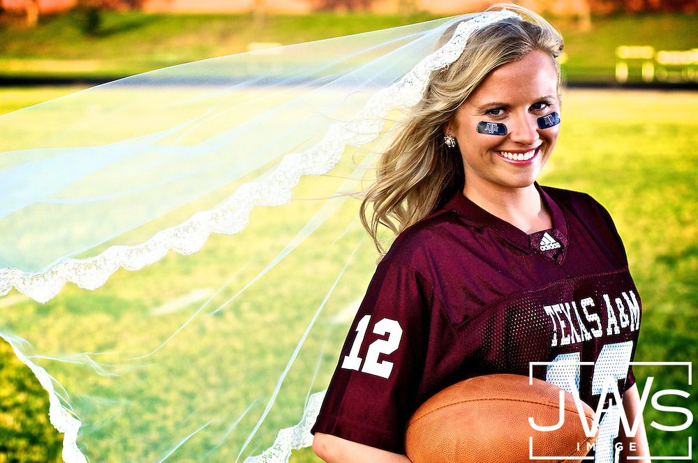 Beautiful Aggie alum showing off her maroon jersey over her wedding dress with eyeblack stickers and white veil for bridal pictures.