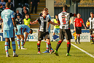 Danny Mullen of St Mirren questions the 4th official following an off the ball incident during the Ladbrokes Scottish Premiership match between St Mirren and Dundee at the Paisley 2021 Stadium, St Mirren, Scotland on 30 March 2019.