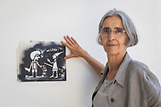 07/09/2015 - Lisbon, Portugal: Luisa Cortesão, 65, a retired doctor, was one of the first participants of the project Lata 65. Today she helps organizing other workshops and in her spare time she graffitis some walls with her grandaughters. Lata 65 was project created by Lara Seixo Rodrigues and is a creative workshop teaching street art to senior citizens. (Eduardo Leal)