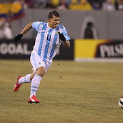 Sergio Aguero, Argentina, in action during the Argentina Vs Ecuador International friendly football match at MetLife Stadium, New Jersey. USA. 31st march 2015. Photo Tim Clayton