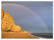 Jurassic Coast Dorset. Rainbow at West Bay Beach