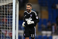 Ipswich Town goalkeeper Bartosz Bialkowski  looks on. EFL Skybet championship match, Cardiff city v Ipswich Town at the Cardiff city stadium in Cardiff, South Wales on Tuesday 31st October 2017.<br /> pic by Andrew Orchard, Andrew Orchard sports photography.