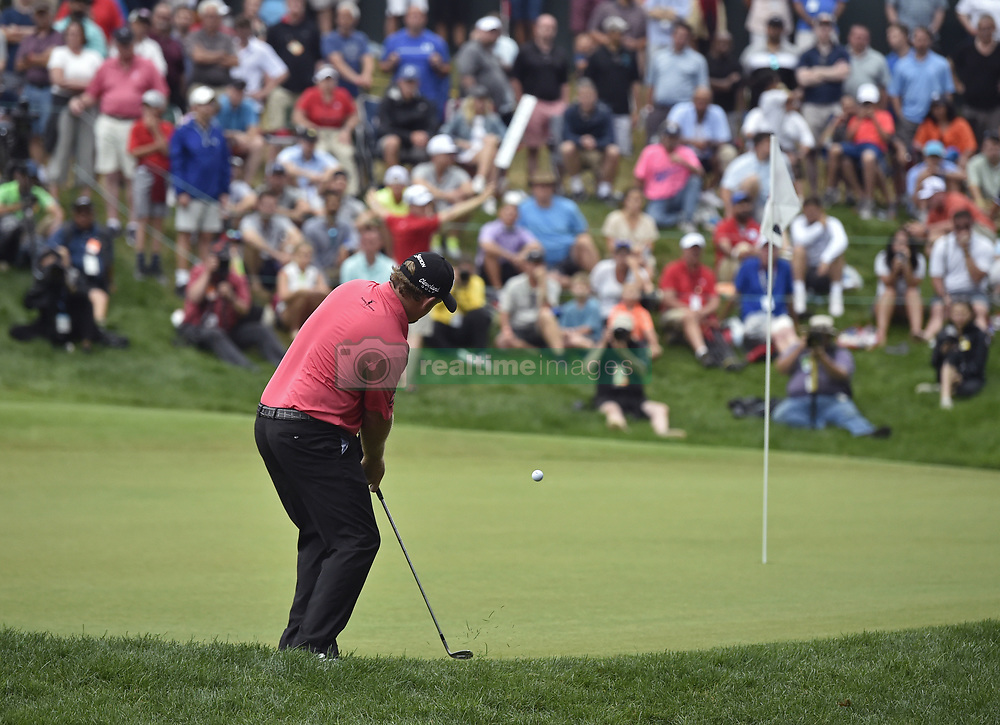 June 24, 2018 - Cromwell, CT, USA - J.B. Holmes hits third shot on the 18th hole during the final round of the Travelers Championship at TPC River Highlands in Cromwell, Conn., on Sunday, June 24, 2018. (Credit Image: © Brad Horrigan/TNS via ZUMA Wire)