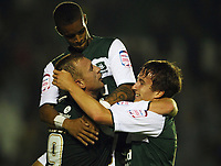 Capital One Cup First Round Plymouth Argyle vs Portsmouth<br /> Plymouth's Nick Chadwick celebrates scoring his teams third goal