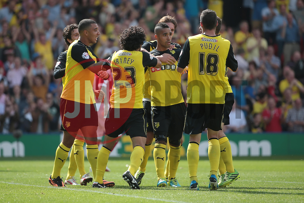 Watford celebrate Lewis McGugan's equaliser  - Photo mandatory by-line: Nigel Pitts-Drake/JMP - Tel: Mobile: 07966 386802 25/08/2013 - SPORT - FOOTBALL -Vicarage Road Stadium - Watford -  Watford v Nottingham Forest - Sky Bet Championship