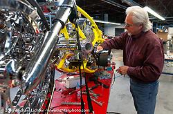 Arlen Ness in his shop working on the Top Banana Biker Build-Off bike. Dublin, CA. 2004. Photograph ©2004 Michael Lichter