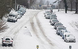 © Licensed to London News Pictures. 02/03/2018. Cardiff, UK.  Cars abandoned by the roadside as Storm Emma leaves drifts and stranded cars in Cardiff, Wales. Photo credit: Ian Holmer/LNP
