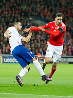 Football - 2016 / 2017 World Cup Qualifier - Group D: Wales vs. Serbia<br /> <br /> Hal Robson Kanu of Wales collides with Nikola Maksimovic of Serbia, at Cardiff City Stadium.<br /> <br /> COLORSPORT/WINSTON BYNORTH