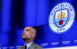 New Manchester City Manager speaks to the media during his first press conference - Mandatory by-line: Robbie Stephenson/JMP - 08/07/2016 - FOOTBALL - Manchester City Training Campus - Manchester, England - Pep Guardiola's debut press conference as manager of Manchester City