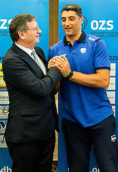 Aleksandar Boricic, president of CEV and Andrea Giani, head coach of Slovenian team during press conference of Slovenian Volleyball Federation before FIVB Volleyball World League tournament in Ljubljana, on May 5, 2016 in Hotel Spik, Gozd Martuljek, Slovenia. Photo by Vid Ponikvar / Sportida