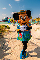 Minnie Mouse, Disney Dream cruise ship docked at Castaway Cay (Disney's private island) in background, The Bahamas