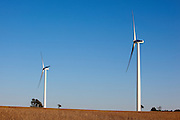 This photo shows wind energy production. Wind turbines in rural areas are part of the new sustainable energy future of the United States. Wind Power and Clean Energy are part of a Sustainable Green Economy.