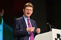 © Licensed to London News Pictures. 28/02/2017.  Secretary of State for Business, Energy and Industrial Strategy GREG CLARK speaks at the British Chambers of Commerce Annual Conference 2017 on growing business in the regions and nations. London, UK. Photo credit: Ray Tang/LNP
