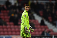 Substitute goalkeeper Jonathan Maddison (12) of Yeovil Town during the EFL Sky Bet League 2 match between Swindon Town and Yeovil Town at the County Ground, Swindon, England on 10 April 2018. Picture by Graham Hunt.