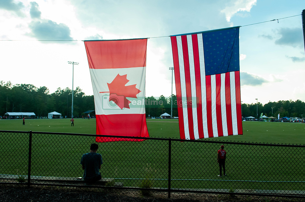 September 22, 2018 - Morrisville, North Carolina, US - Sept. 22, 2018 - Morrisville N.C., USA - International cricket action during the ICC World T20 America's ''A'' Qualifier cricket match between USA and Canada. Both teams played to a 140/8 tie with Canada winning the Super Over for the overall win. In addition to USA and Canada, the ICC World T20 America's ''A'' Qualifier also features Belize and Panama in the six-day tournament that ends Sept. 26. (Credit Image: © Timothy L. Hale/ZUMA Wire)