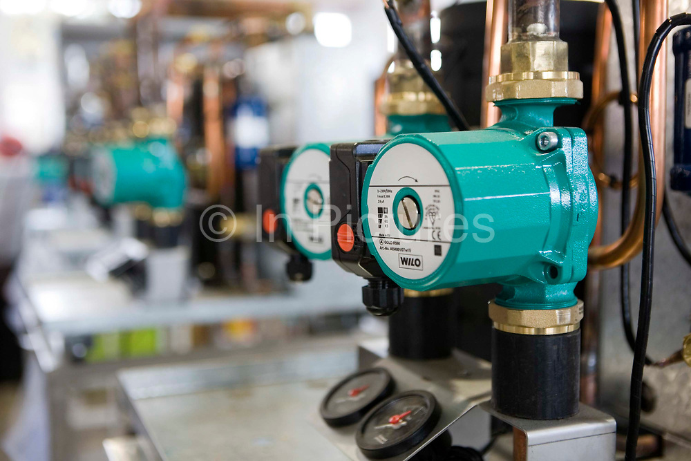 Water pump for heating system at Kensa Engineering, Cornwall.