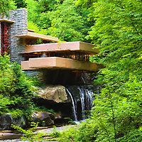 """""""Fallingwater Painterly 4""""<br /> <br /> Wonderful scenic and historic Fallingwater during the summer. Beautiful done as a digital oil painting!"""