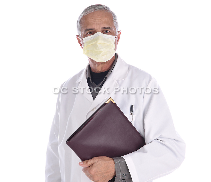 Portrait of a Middle Aged Doctor Wearing a Surgical Mask and Lab Coat