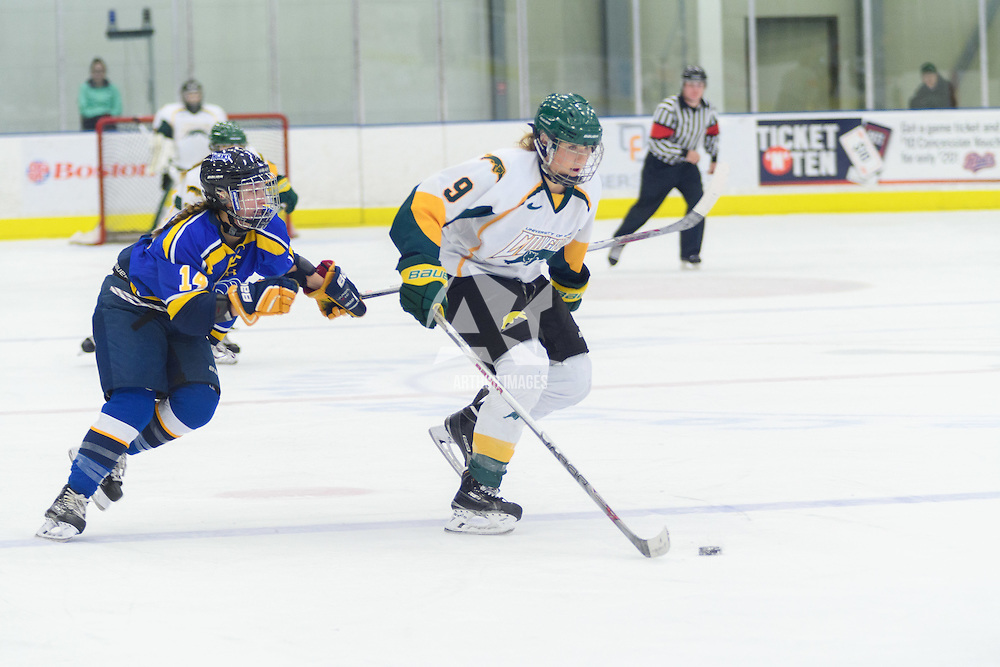 3rd year forward Emma Waldenberger (9) of the Regina Cougars in action during the Women's Hockey Home Game on October 15 at Co-operators arena. Credit: Arthur Ward/Arthur Images