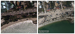 September 11, 2017 - Key West, Florida, U.S - Before and After damage from Hurricane Irma. Elevated water levels and high waves overtopped the dunes at Sombrero Beach in Marathon Key causing sand to overwash, covering the road. (Credit Image: © USGS/ZUMA Wire/ZUMAPRESS.com)