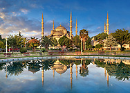 Sunset over the Sultan Ahmed Mosque (Sultanahmet Camii) or Blue Mosque, Istanbul, Turkey. Built from 1609 to 1616 during the rule of Ahmed I.<br /> <br /> If you prefer to buy from our ALAMY PHOTO LIBRARY  Collection visit : https://www.alamy.com/portfolio/paul-williams-funkystock/blue-mosque-istanbul.html<br /> <br /> Visit our TURKEY PHOTO COLLECTIONS for more photos to download or buy as wall art prints https://funkystock.photoshelter.com/gallery-collection/3f-Pictures-of-Turkey-Turkey-Photos-Images-Fotos/C0000U.hJWkZxAbg