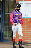 Jockey ANDREA ATZENI in HM The Queen racing colours  at Nottingham Racecourse, Nottingham, United Kingdom on 7 April 2021.
