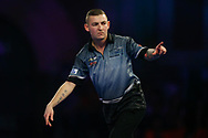 Nathan Aspinall celebrates hitting the double to come within one leg of winning the match during the World Darts Championships 2018 at Alexandra Palace, London, United Kingdom on 29 December 2018.