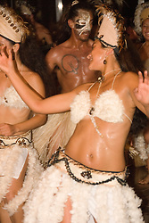 Chile, Easter Island:  The Kari Kari dance troupe dances at the Hotel Hanga Roa in Hanga Roa.  Easter Island and South Pacific dance styles..Photo #: ch332-33037..Photo copyright Lee Foster www.fostertravel.com lee@fostertravel.com 510-549-2202