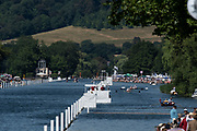 """Henley on Thames, United Kingdom, 8th July 2018, Sunday, View, down the Rowing course towards """"Temple Island"""",  """"Heat Haze"""" """"Fifth day"""", of the annual,  """"Henley Royal Regatta"""", Henley Reach, River Thames, Thames Valley, England, © Peter SPURRIER,"""