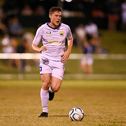 BRISBANE, AUSTRALIA - FEBRUARY 10: Brandon Reeves of United dribbles the ball during the NPL Queensland Senior Mens Round 2 match between Gold Coast United and Brisbane Roar Youth at Station Reserve on February 10, 2018 in Brisbane, Australia. (Photo by Football Click / Patrick Kearney)