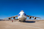 The gigantic Antonov AN-124-100 cargo aircraft at Hartsfield-Jackson Atlanta International Airport.  <br /> <br /> Created by aviation photographer John Slemp of Aerographs Aviation Photography. Clients include Goodyear Aviation Tires, Phillips 66 Aviation Fuels, Smithsonian Air & Space magazine, and The Lindbergh Foundation.  Specialising in high end commercial aviation photography and the supply of aviation stock photography for advertising, corporate, and editorial use.