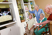 Active Seniors Playing Wii Bowling