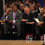 Golden State Warriors Head Coach Steve Kerr during a match against the New York Knicks. NBA Basketball. Madison Square Garden, New York. USA.  Photo Tim Clayton