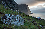View out to the Norwegian Sea in the late evening above Kvalvika, Lofoten Islands