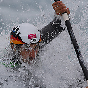 Hannes Aigner, Germany, in action during the Kayak Single (K1) Men Final during the Canoe Slalom competition at Lee Valley White Water Centre during the London 2012 Olympic games. London, UK. 1st August 2012. Photo Tim Clayton